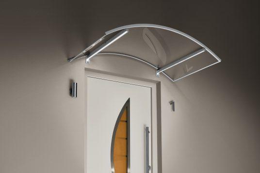 Auvent cintré LED aspect acier inoxydable